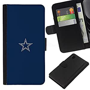 All Phone Most Case / Oferta Especial Cáscara Funda de cuero Monedero Cubierta de proteccion Caso / Wallet Case for Sony Xperia Z1 L39 // Minimalist Blue Star