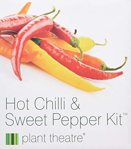 Plant Theatre Hot Chilli & Sweet Pepper Kit Gift Box - 6 Different Varieties to Grow -Everything you need to start growing in one box! Super Grow Kit Gift by Plant Theatre