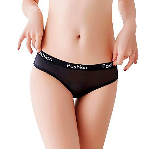 Mnyycxen Women's Hipster Mesh Underwear Lingerie Panties Thong Low Waist See Through Panties Black
