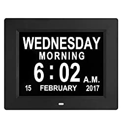 Updated Version LED Large Clock Digital Wall Calendar- Large Numbers Electronic Calendar Day Clock Seniors Dementia/Alzheimers'/Vision Impaired(Black)
