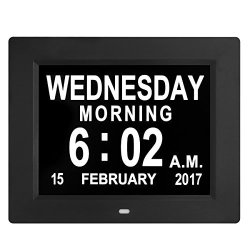 Updated Version LED Large Clock Digital Wall Calendar- Large Numbers Electronic Calendar Day Clock Seniors Dementia/Alzheimers'/Vision Impaired(Black) by Kaylocheer