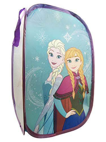 Jay Franco Disney Frozen Snowflake Dreams Pop Up Hamper - Features Ana & Elsa - Mesh Laundry Basket/Bag with Durable Handles, 22