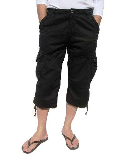 Style Short Black (Mens Black Cargo Capri Shorts #27CA/28CA Size 38)