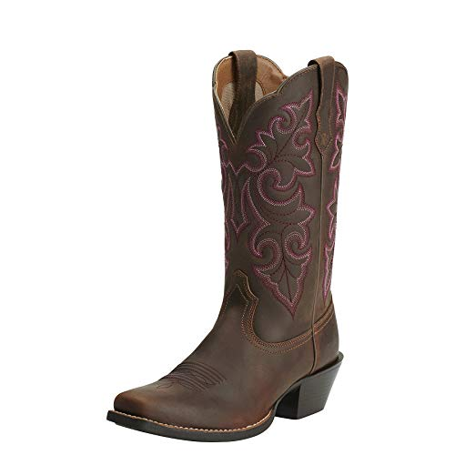 Ariat Women's Round Up Square Toe Western Cowboy Boot, Powder Brown/Brown, 9 W US (Ariat Fancy Boots)
