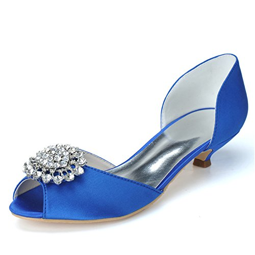 Clearbridal Women's Open Peep Toe Satin Wedding Shoes and Prom Shoes with Rhinestone Crystal ZXF0700-03 Royalblue