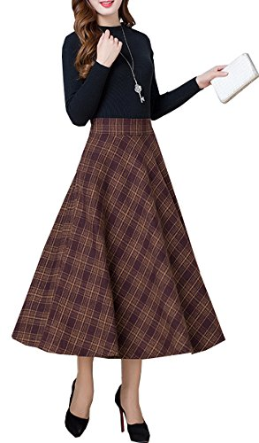 Olrain Women's Autumn Woolen Long Classic Plaid Skirts Dress (Autumn Skirt)