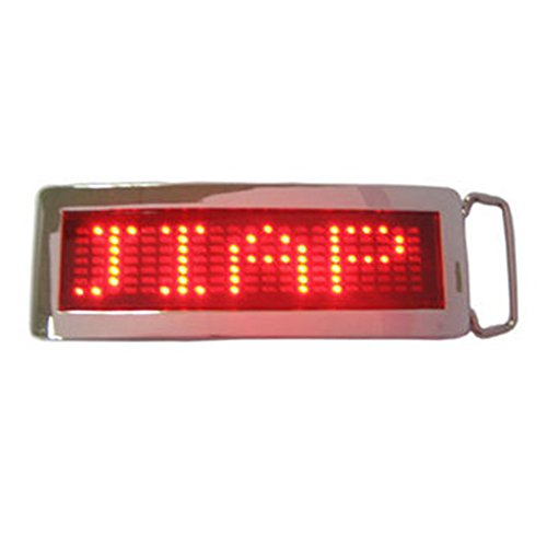 Led Buckle - xiangshang shangmao Red DIY Text Name Flash Chrome LED Scroling Belt Buckle Party