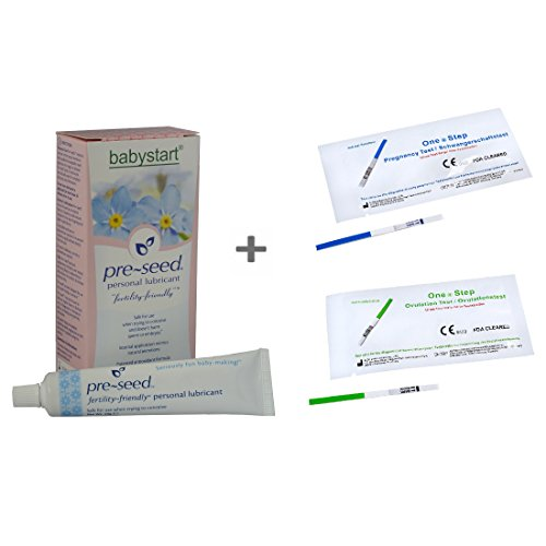 1 x Pre-Seed 9 Applications Sperm Friendly Fertility Lubricant (Exp 08/2019) + 10 x 20mIU Ovulation Strips + 5 x 10mIU Pregnancy Test Strips - One Step