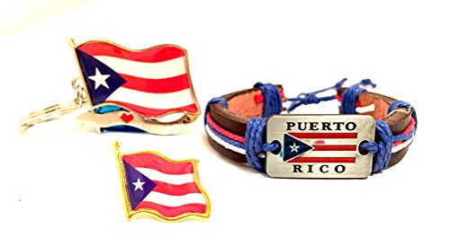Puerto rico 3pc pack, Puerto Rican flag, Wristband, lapel pin, keychain (Rico Wristband)