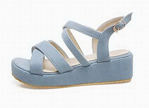 WeenFashion Toe Heels Women's LightBlue Fabric Sandals Buckle Solid Kitten Open rarnxq0w