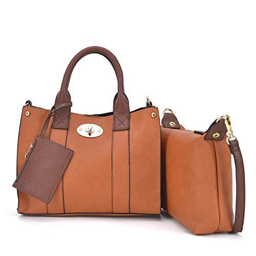 Leather 2 3 0621 in Faux Shoulder Purse Design Pieces 3pcs Set Plaid Handbag 1 Satchel Women Bag 2pcs brown Pieces 3 ZqXSx