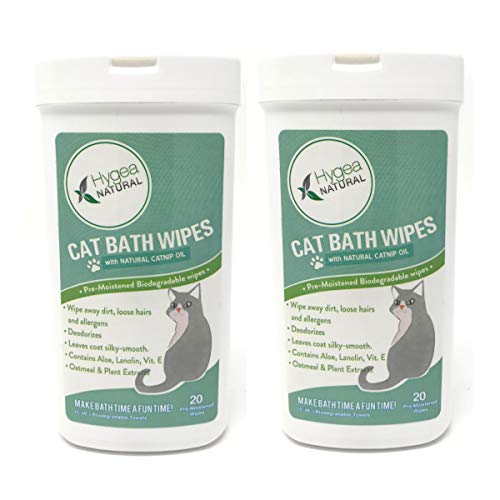 - Hygea Natural Catnip Bath Wipes - Cat Wipes for Bathing, Dander, Butt, Cleansing, Reduce Allergens - Hypoallergenic Cat Bathing Wipes Infused with Catnip Oil (2 Pack)