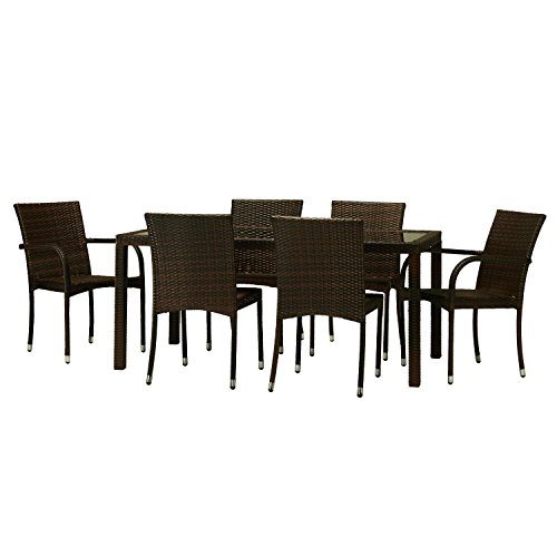 Toria 7-Piece All-Weather Wicker Dining Set (Set Hom Furniture Dining)