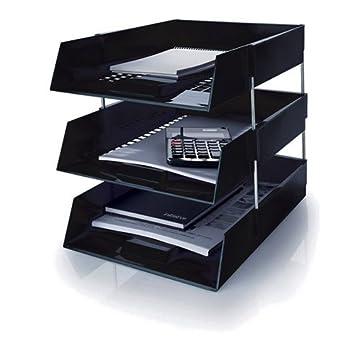 5 Star negro A4/carta bandejas plástico carpeta plástica archivo, incluyendo elevadores Metal.