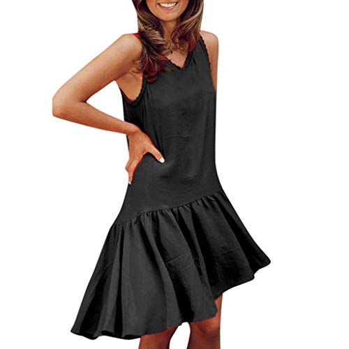 iYYVV Womens Fashion Summer Sleeveless Solid Sexy Mini Sundress Ruffle Hem Dress Black ()