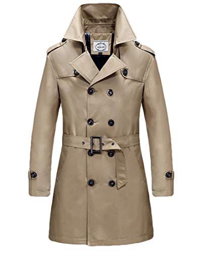 SELX Men Slim Fit Double Breasted Trench Coat Belted Long Jacket Overcoat Brown US M