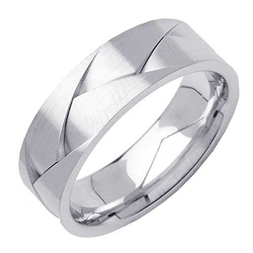 Platinum Braided Basket Weave Men's Comfort Fit Wedding Band (7mm) Size-13.5