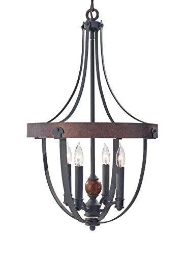 Acorn Finish Chandeliers (Feiss F2798/4AF/CBA Alston 4 - Light Single Tier Chandelier in AF/CHARCOAL BRICK/ACORN)