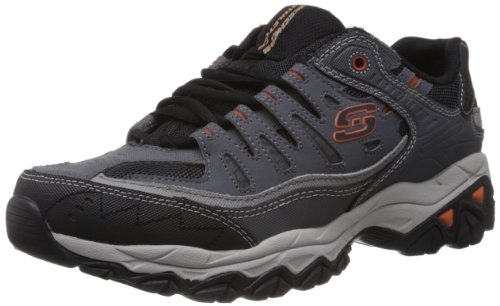 Skechers Sport Men's Afterburn Memory Foam Lace-Up Sneaker, Charcoal, 12 M US