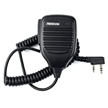 Retevis 2 Pin Handheld Remote Radio Speaker Microphone for Baofeng UV-5R/UV-5RA/888S/KENWOOD/Retevis H777/R888S/RT 5R/RT B6/Rt-6S  2 Way Radio