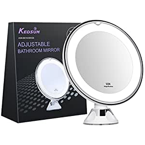 """KEDSUM 6.8"""" 10x Magnifying LED Lighted Makeup Mirror,Bathroom Vanity Mirror with Strong Suction Cup,Rotates 360 Degrees,Daylight Color,Battery Operated"""
