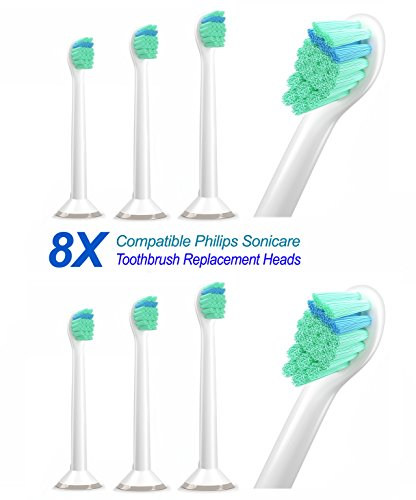Price comparison product image 8 Pack Replacement Mini Toothbrush Heads for Philips Sonicare ProResults, fit DiamondClean, FlexCare, Gum Health, Plaque Control, EasyClean, Sonicare Electric Toothbrush Models