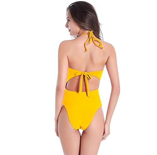 La Sra Bikini Atractivo Traje De Baño Multicolor Delgado L-XXXL Yellow