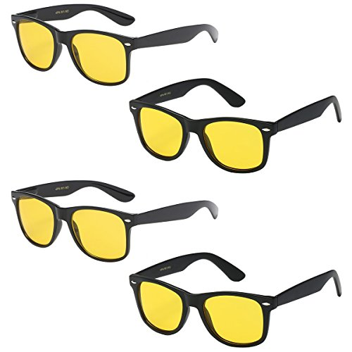 WHOLESALE UNISEX 80'S RETRO STYLE TRENDY SUNGLASSES - 4 PACK (2 x Gloss Black + 2 x Matte Black | Night Driving, ()