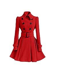 Mr. FF Women's Long Trench Coat Winter Dress-Coats Slim Woolen Pea Coats