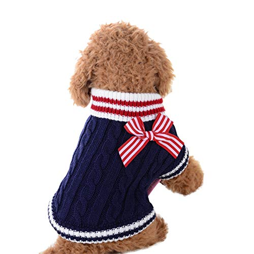 Hpapadks Pet Sweater Navy Sweater,Cute Pet Dog Knitwear Sweater Puppy Cat Winter Warm Clothes Striped Coat Apparel Dog Sweaters Dog Striped Hoodie Sweater Clothes