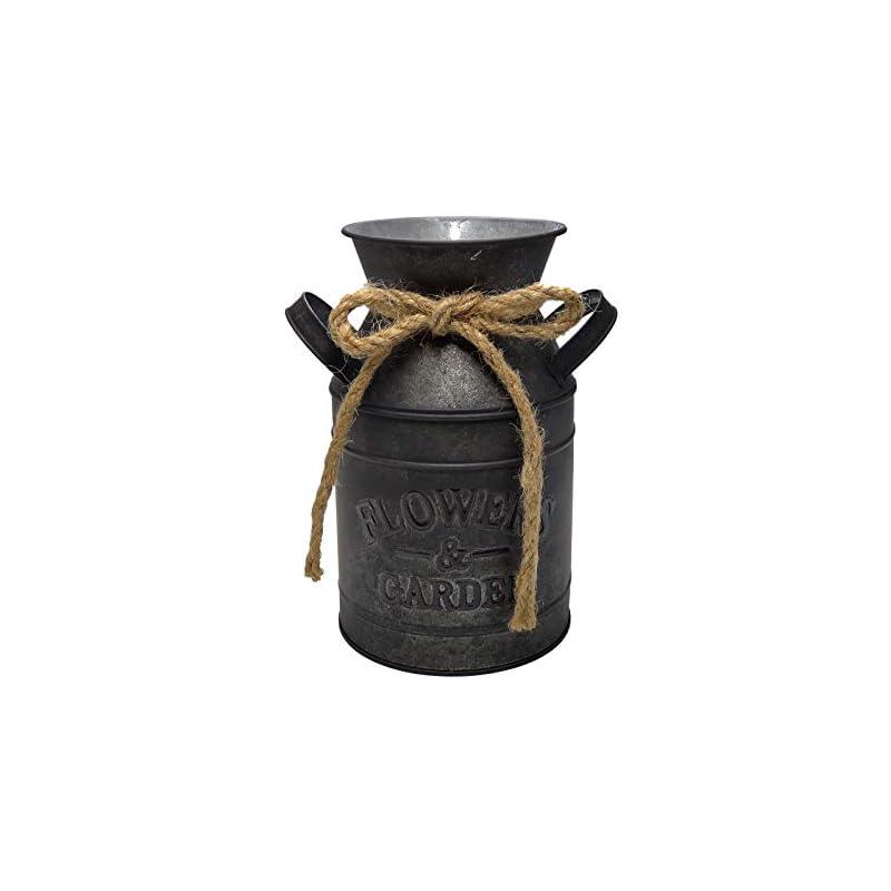WHHOME Shabby Chic Classy Designed Black Milk Can Galvanized Finish Metal Vase Country Rustic Primitive Decorative…