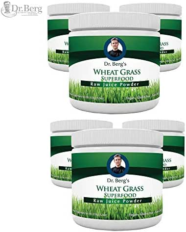 Dr. Berg's Wheat Grass Juice Organic Superfood Powder - Raw & Ultra-Concentrated Nutrients - Rich in Vitamins, Chlorophyll & Trace Minerals - 60 Servings - Gluten Free - Non GMO - 5.3 oz (6 Pack)
