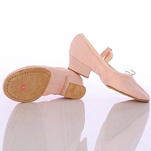 Azbro Mujer Zapato de Baile de Lona de Talón Grueso Puntera Redonda Rojo