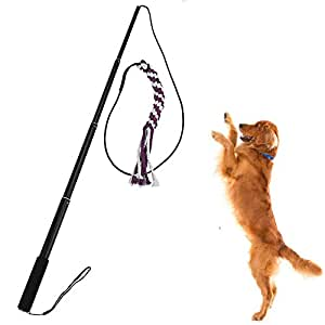 Sanzang Dog toy dog outdoor Play fun Interactive Chasing, Teaser and Exerciser, Extendable Length Interactive Wand (Size L,Black)