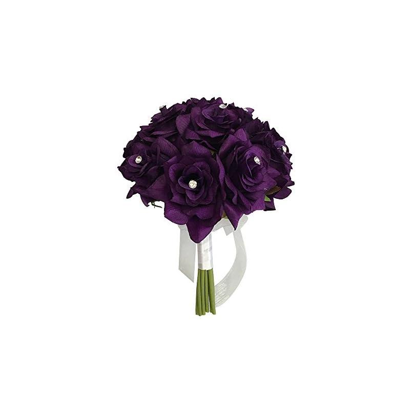 "silk flower arrangements angel isabella 8"" wedding bridal rose bouquet(xlbq002-pp) - one dozen roses with rhinestone - artificial flower bridesmaid toss (purple)"