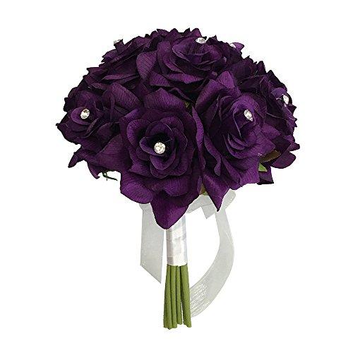 "8"" Wedding Bridal Rose bouquet(XLBQ002-PP) - One Dozen Roses With Rhinestone - Artificial Flower Bridesmaid Toss (PURPLE)"