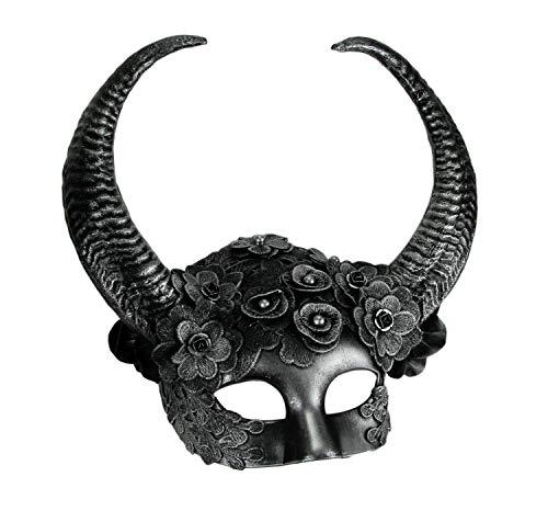 Metallic Silver Flora Goat Demon Spiral Horned Adult