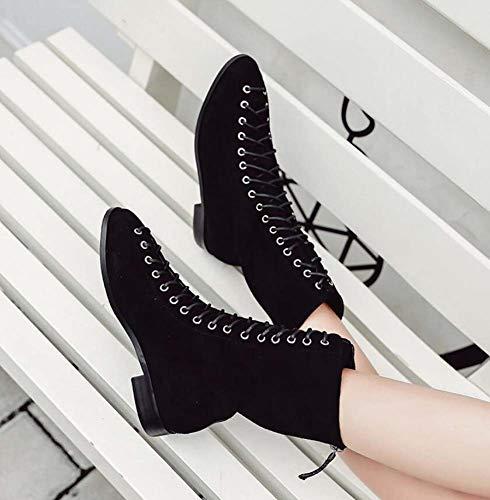 Zapatos Vestir 35 De De De Puro Color UE Cruzadas Correas Black Tamaño Casuales Zapatos Botas La 39 Encaje Caballero Martin hasta De Tacón Botas Bajo WO6fZWq