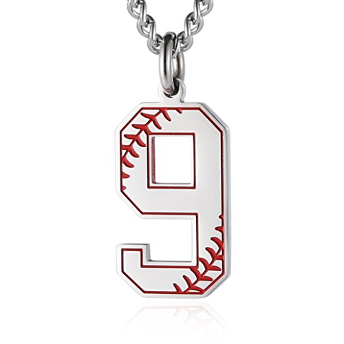 HZMAN Baseball Initial Pendant Necklace Inspiration Baseball Jersey Number 0-9 Charms Stainless Steel Necklace (9 - Silver)
