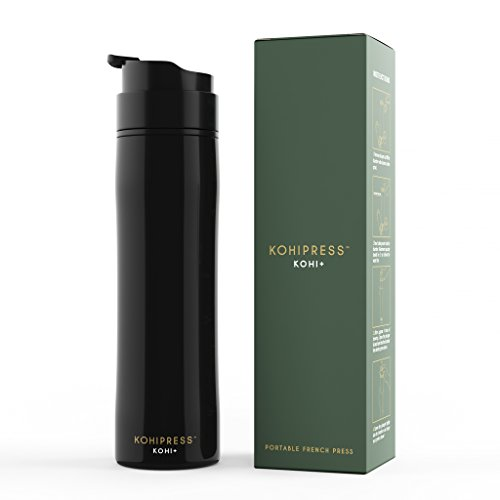 KOHIPRESS The primary handheld French Press coffee beans Maker cleaner Insulated trave Mug Premium Stainless aluminum popular and Cold Brew 12 oz wonderful for Commuter outdoor dwelling Outdoors and business Black instructions Espresso Machines