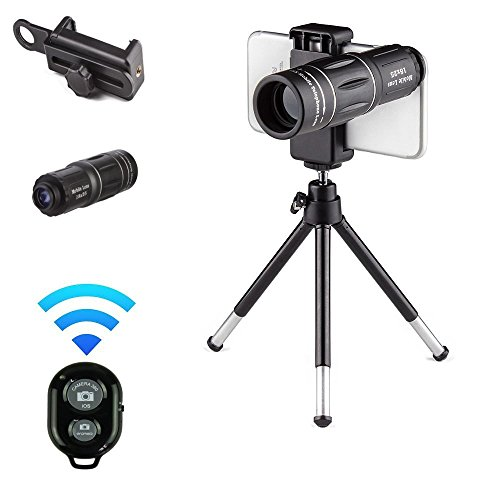 Cell Accessory Kit - Phone Camera Lens for iPhone X/8/7/6S/6 Plus, Samsung, Android and other Mobile Cell Phones, 18x Telephoto Accessory kit, Universal Zoom Lenses Attachment For Smartphone + BONUS Remote