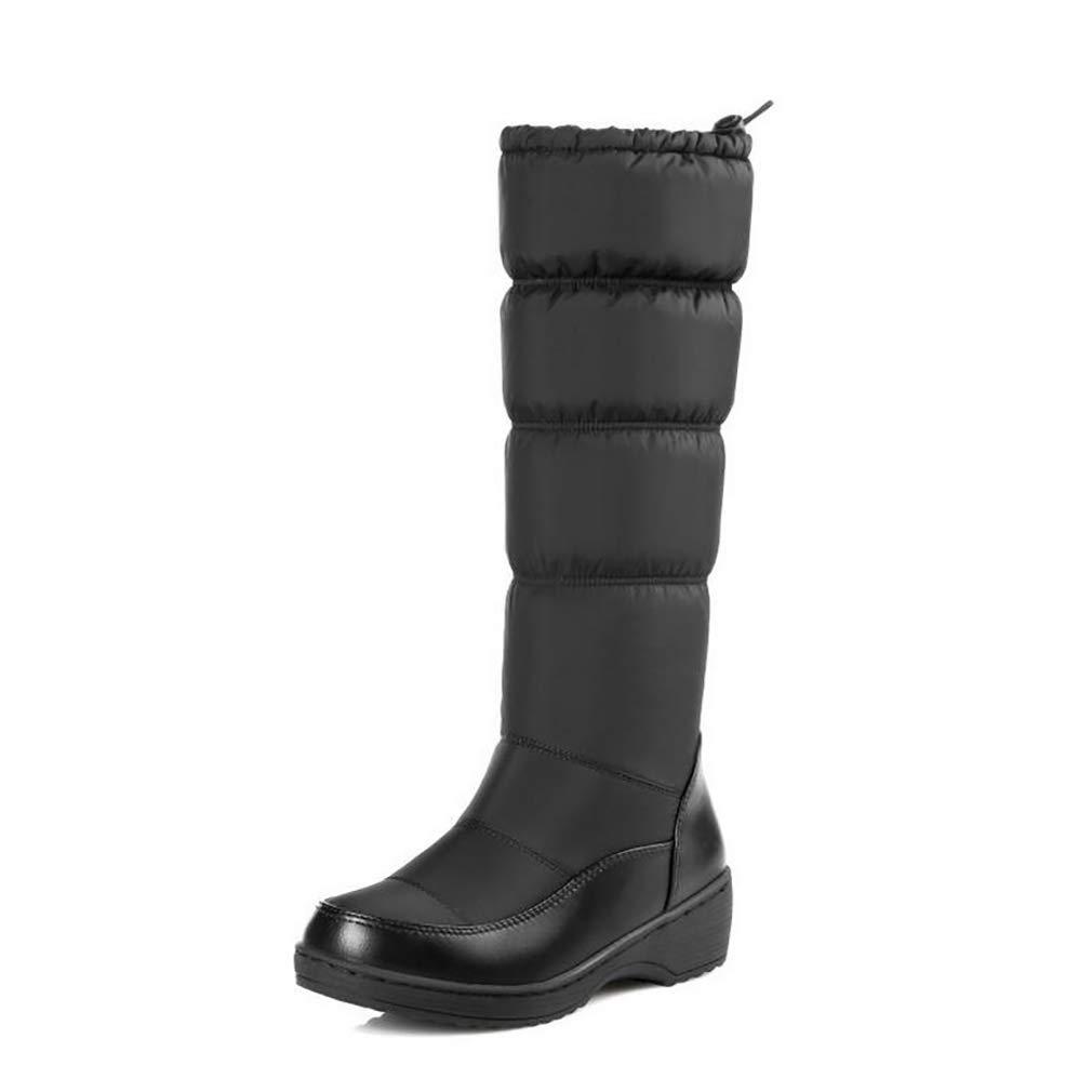 Hy Damen Schneestiefel Stiefel Frühling/Herbst Komfort Komfort Flache Schuhe/Damen Warm Winddicht Hohe Stiefel Weiß, Schwarz, Blau (Farbe : Schwarz, Größe : 37)