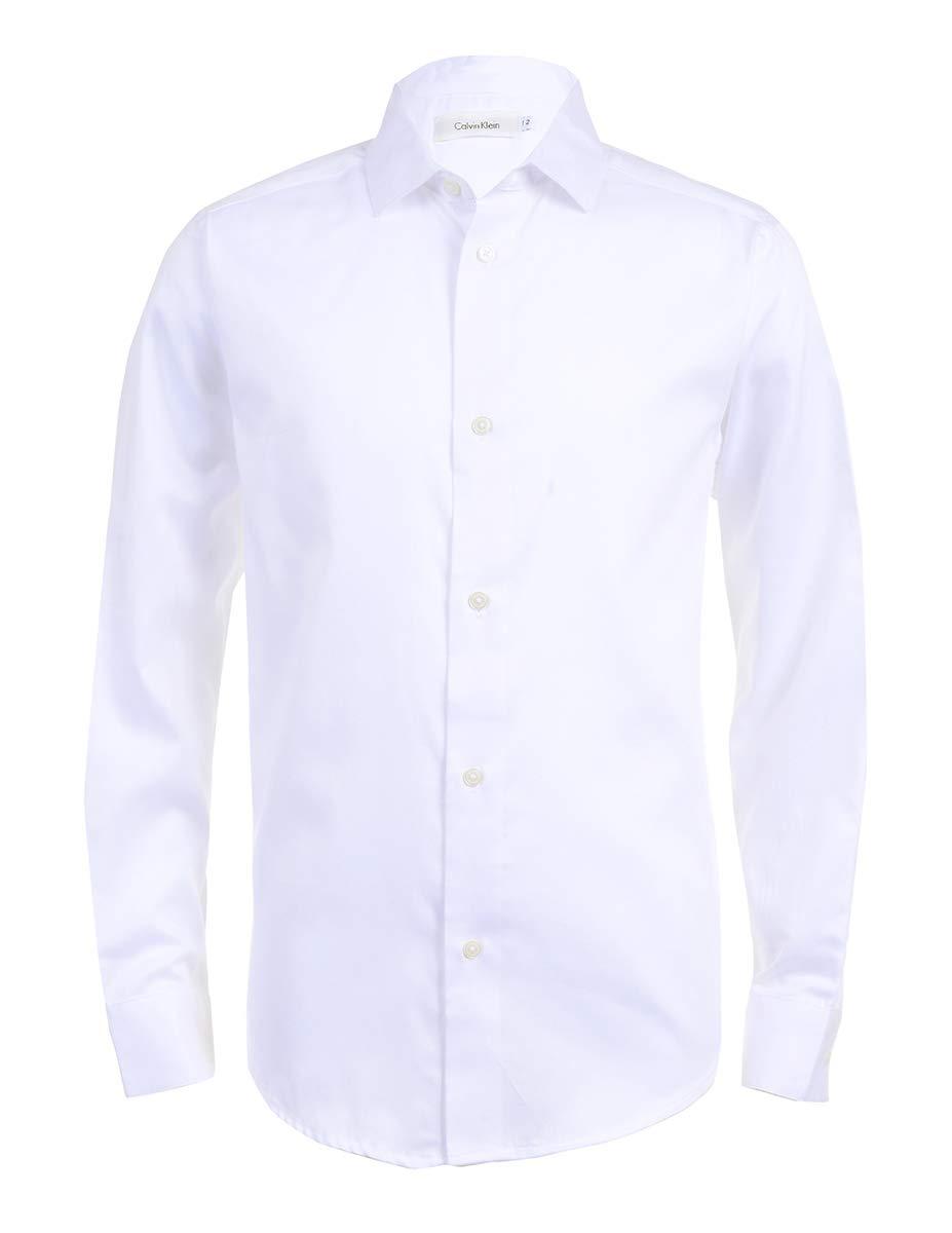 Calvin Klein Boys Long Sleeve Sateen Dress Shirt, White, 18/20 Husky by Calvin Klein