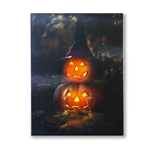 NIKKY HOME LED Lighted Halloween Jack-O-Lanterns with a Witch's Hat Pumpkin Canvas Wall Art ()