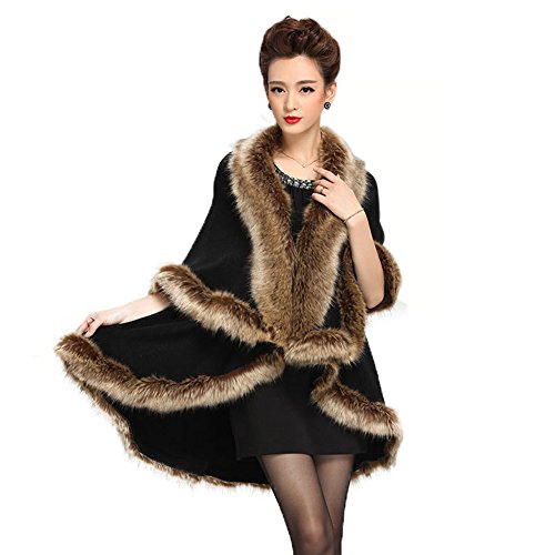 - Caracilia Women Faux Fur Collar Poncho Cape Stole Wrap Cloak Coat Black2 CA98