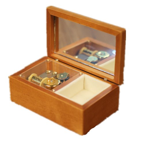 Lily Garden Wooden Mechanical Music Box Jewelry Box with Mirror (edelweiss)