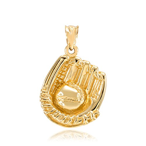(Solid 10k Yellow Gold Softball Glove and Ball Charm Pendant)