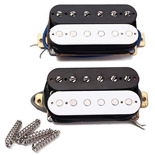 - difcuyg5Ozw Electric Guitar Neck Bridge Double Coil Humbucker Pickup Set 4 Screws 4 Springs Replacement Parts Accessories- Black+White