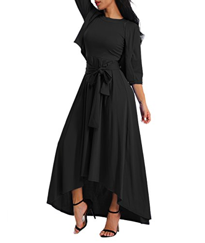 Alinemyer Women's Dress+Cardigan+Belt Halter Sleeveless Swing Maxi Dress