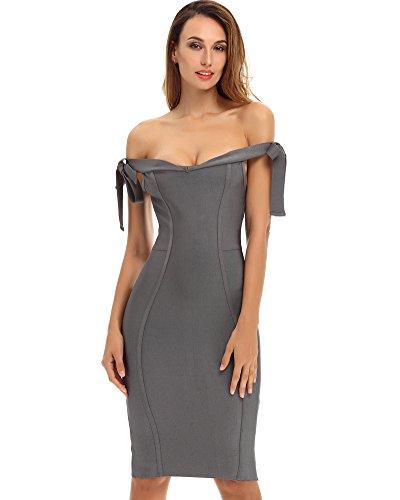 Whoinshop Damen Schulterfrei Bodycon Kleid Figurbetontes Festliche Bandage PartyKleid Grau qhkrC4f